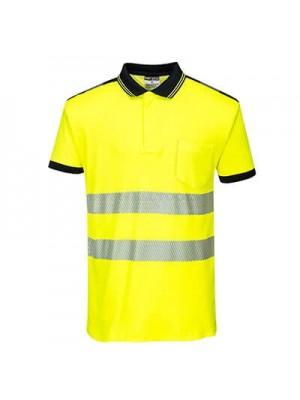 Portwest PW3 Hi-Vis Polo Shirt S/S Yellow/Black XXL - T180