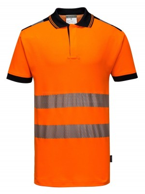 Portwest PW3 Hi-Vis Polo Shirt S/S Orange/Black Size: Large T180