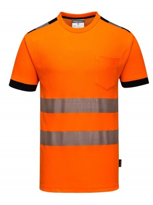 Portwest PW3 Hi-Vis T-Shirt S/S Orange/Black Size: Large T181