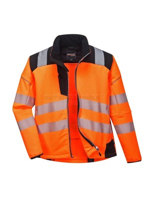 Portwest PW3 Hi-Vis Softshell Jacket Orange/Black (Medium) - (T402)