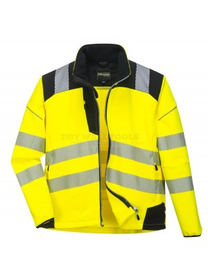 Portwest PW3 Hi-Vis Softshell Jacket Yellow/Black (Extra Large) - (T402)