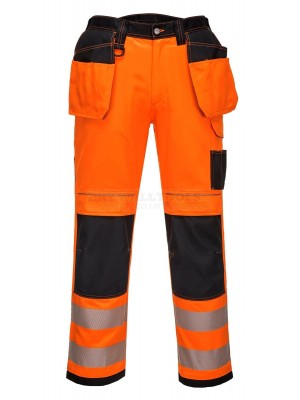 "Portwest PW3 Orange Hi-Vis Safety Trousers Holster Pockets Two Tone With Free Knee Pads 38"" Reg ( T501 )"