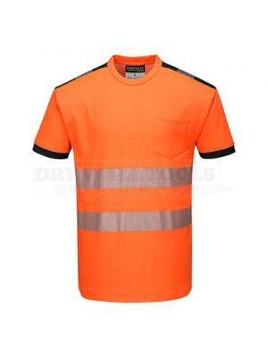 Portwest PW3 Hi-Vis T-Shirt S/S Orange/Black XXXL - T181