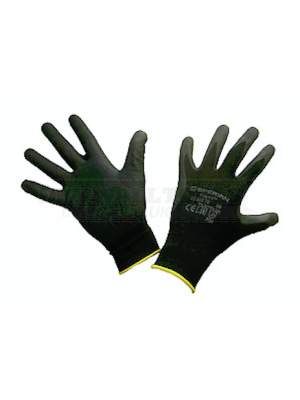 PTI Black Polyurethane Knitted Gloves (12 Pack)