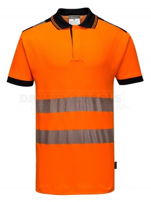 Portwest PW3 Hi-Vis Polo Shirt S/S Orange/Black Size: Medium T180