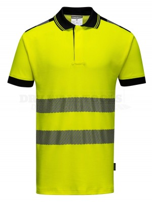 Portwest PW3 Yellow Hi-Vis Vision Polo Shirt S/S (Extra Large) - (T180)