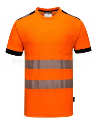 Portwest PW3 Orange Hi-Vis Vision T-Shirt S/S (Large) - (T181)