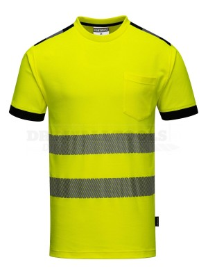 Portwest PW3 Yellow Hi-Vis Vision T-Shirt S/S (Extra Large) - (T181)