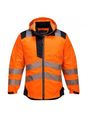 Portwest PW3 Hi-Vis Rain Jacket Orange/Black (Medium) - (T400)