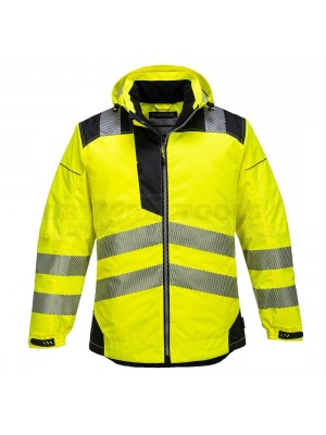 Portwest PW3 Hi-Vis Rain Jacket Yellow/Black (Large) - (T400)