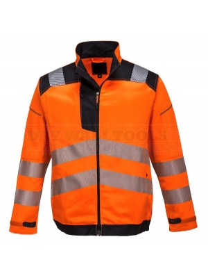 Portwest PW3 Hi-Vis Work Jacket Orange/Black (Medium) - (T500)