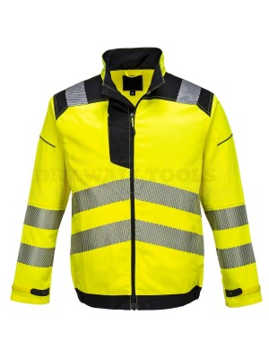 Portwest PW3 Hi-Vis Work Jacket Yellow/Black (Large) - (T500)
