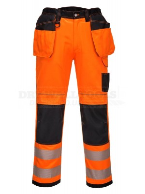 "Portwest PW3 Orange Hi-Vis Safety Trousers Holster Pockets Two Tone With Free Knee Pads 34"" Reg ( T501 )"