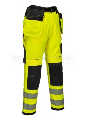 "Portwest PW3 Yellow Hi-Vis Safety Trousers Holster Pockets Two Tone With Free Knee Pads 34"" Reg ( T501 )"
