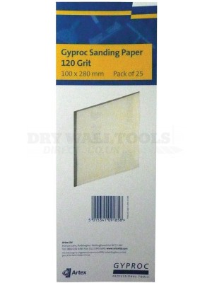 Gyproc 120 grit sanding paper 100 x 280mm  25 sheets